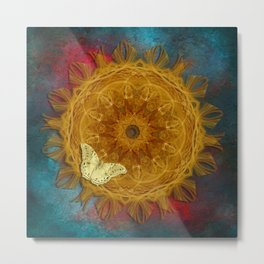Magical fire mandala and gold butterfly Metal Print