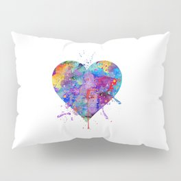 Heart Art Colorful Watercolor Gift Love Gift Valentine's Day Gift Wedding Gift Engagement Gift Pillow Sham