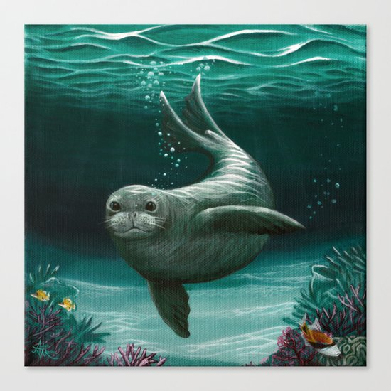 """Hawaiian Monk Seal"" by Amber Marine ~ Acrylic Painting, (C) 2015 Canvas Print"