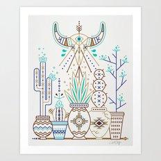Santa Fe Garden – Turquoise & Brown Art Print