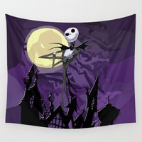 jack skellington Wall Tapestries featuring Halloween Purple Sky with jack skellington iPhone 4 4s 5 5c, ipod, ipad, pillow case tshirt and mugs by Three Second
