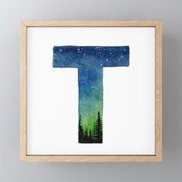 Galaxy Alphabet Series: T Framed Mini Art Print