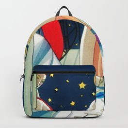 The Woman in Red & Stars, Art Deco - Haute Couture NYC Portrait Painting Backpack