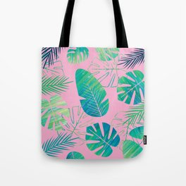 Tropical Pink Ombre Palm Leaf  Tote Bag