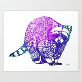 Zentangle Raccoon  Art Print