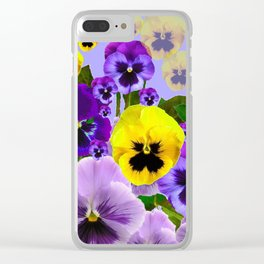 SPRING PURPLE & YELLOW PANSY FLOWERS Clear iPhone Case