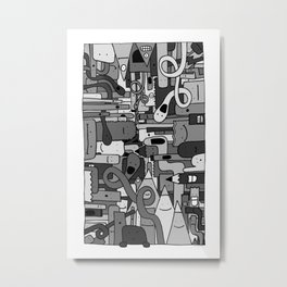 Pile de Monstres - Black/White Metal Print