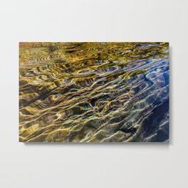 Prismatic Waves in Blue Gold and Green Metal Print