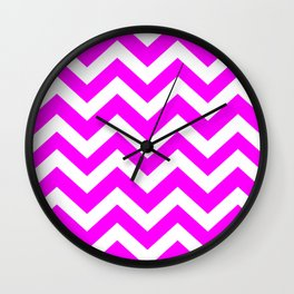 Magenta (Crayola) - pink color - Zigzag Chevron Pattern Wall Clock