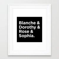 golden girls Framed Art Prints featuring Golden Girls - White by HipsterFangirl