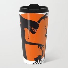 Alien Cartoon Style - Orange Metal Travel Mug