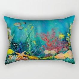 Undersea Art With Coral Rectangular Pillow