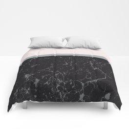 Grey Black Marble Meets Romantic Pink #1 #decor #art #society6 Comforters