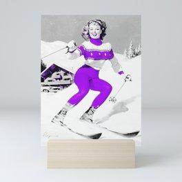 Snow Bunny Pin Up Girl Purple Mini Art Print