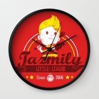 league Wall Clocks featuring Tazmily little league by TeeKetch