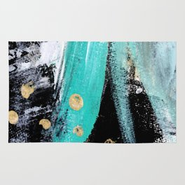 Fairy Dreams: an abstract mixed media piece in black, white, teal, and gold Rug