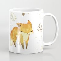 winter Mugs featuring Lonely Winter Fox by Teagan White