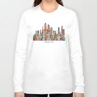 kansas Long Sleeve T-shirts featuring kansas city Missouri skyline by bri.buckley