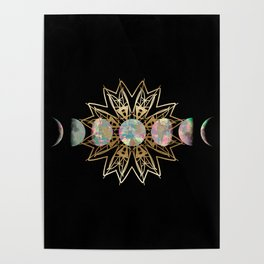 Opal Moon and Gold Stars Poster