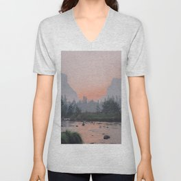Yosemite Valley Sunrise Pretty Pink Unisex V-Neck