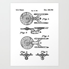 Startrek Uss Enterprise Patent - Trek Art - Black And White Art Print