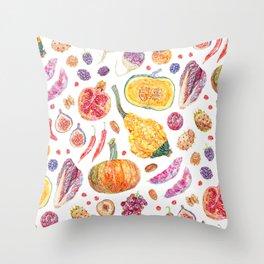 Autumn Harvest Pattern White Throw Pillow