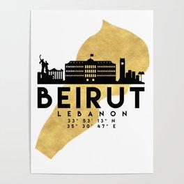 BEIRUT LEBANON SILHOUETTE SKYLINE MAP ART Poster