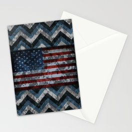 Blue Military Digital Camo Pattern with American Flag Stationery Cards