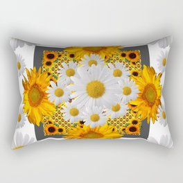 WHITE DAISIES FLORAL & YELLOW SUNFLOWERS FLOWERS Rectangular Pillow