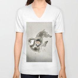 Ohara Koson, Monkeys Playing - Vintage Japanese Woodblock Print Unisex V-Neck