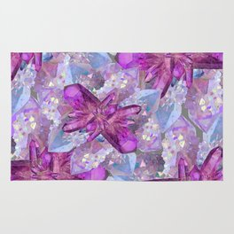PURPLE AMETHYST & QUARTZ CRYSTALS FEBRUARY GEMS Rug