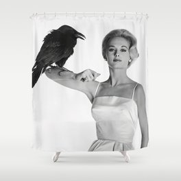 Alfred Hitchcock The Birds Print Tippi Hedren Print The Birds Poster Shower Curtain