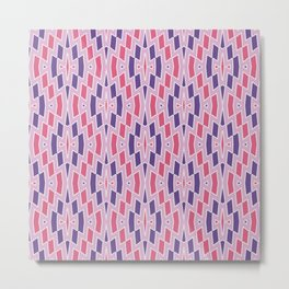 Tribal Diamond Pattern in Violet and Pinks Metal Print