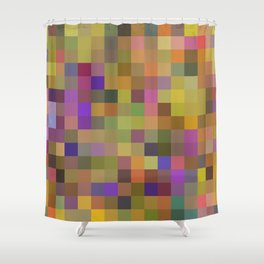 geometric square pixel pattern abstract in yellow green purple Shower Curtain