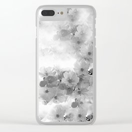 CHERRY BLOSSOMS GRAY AND WHITE Clear iPhone Case