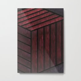 Crimson Cube Metal Print