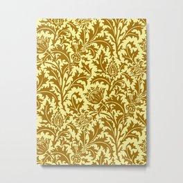 William Morris Thistle Damask in Mustard Gold Metal Print