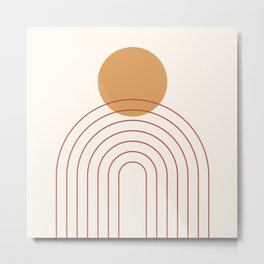 Mid Century Modern Geometric 36 in Terracotta Gold Beige Metal Print