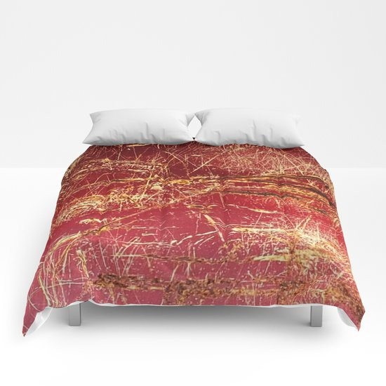 Rusted Gold and Red Abstract Landscape Comforters