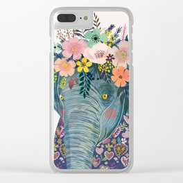 Elephant with flowers on head Clear iPhone Case