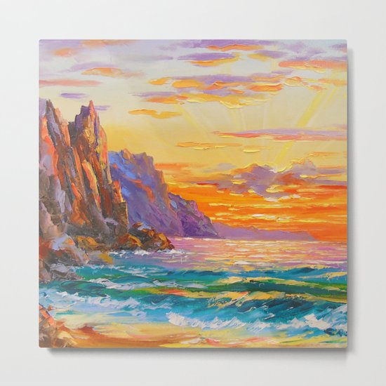 Sunset on the rocky shore Metal Print