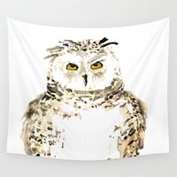 craftberrybush Wall Tapestries featuring Snowy Owl watercolor by craftberrybush
