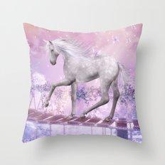 pink unicorn Throw Pillow