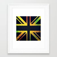 british flag Framed Art Prints featuring RASTA BRITISH FLAG by shannon's art space