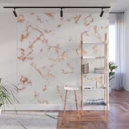 Hints of Rose Gold Veins on Ebony-White Marble Wall Mural