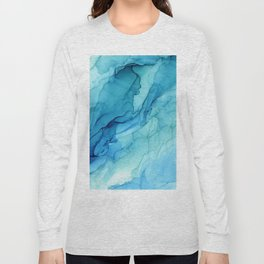 Emerald Sea Waves - Abstract Ombre Flowing Ink Long Sleeve T-shirt