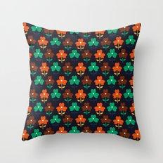 Multy retro flowers black Throw Pillow