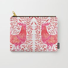 Le Coq – Watercolor Rooster with Red Leaves Carry-All Pouch
