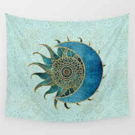 Sun And Moon Universe Celestial Art Gold And Turquoise Wall Tapestry