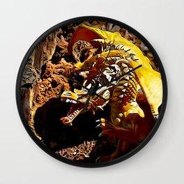 Golden Dragon Laughs Wall Clock